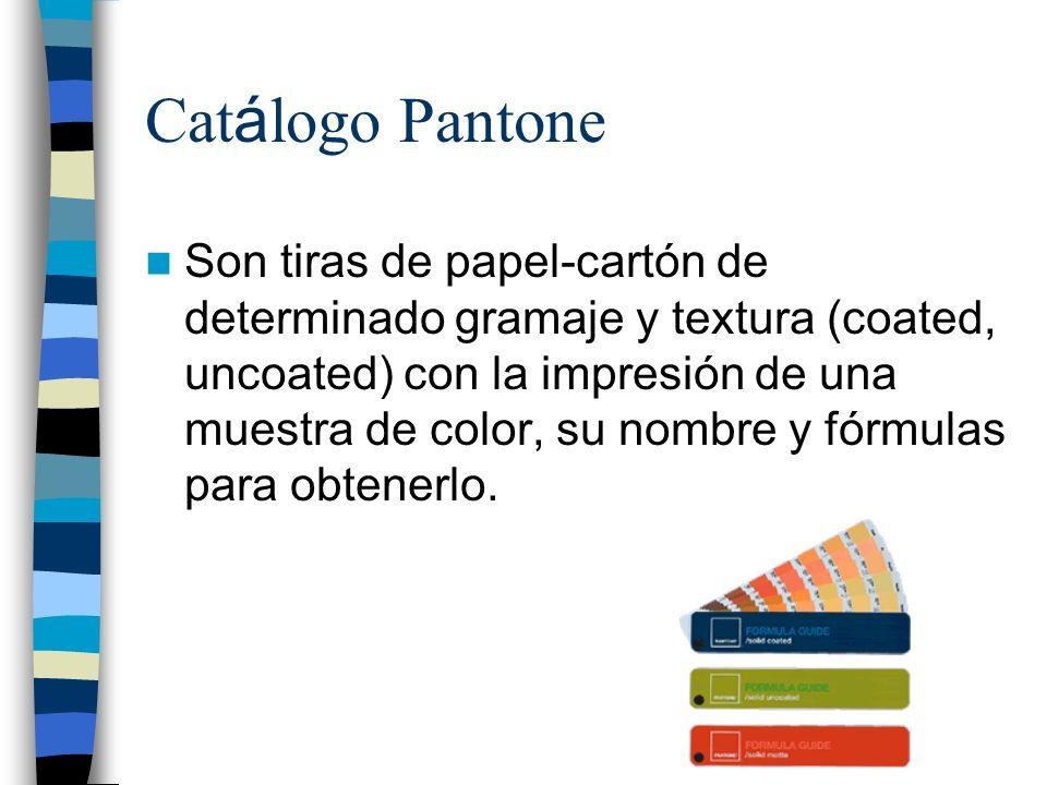 Cat á logo Pantone Son tiras de papel-cartón de determinado gramaje y textura (coated, uncoated) con la impresión de una muestra de color, su nombre y