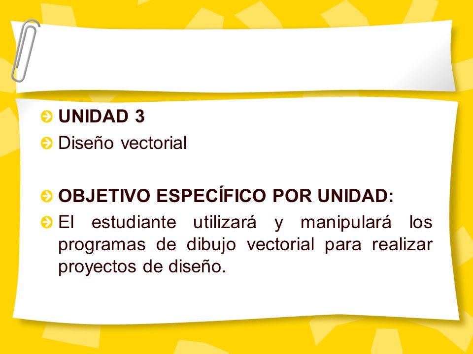 UNIDAD 3 Diseño vectorial OBJETIVO ESPECÍFICO POR UNIDAD: El estudiante utilizará y manipulará los programas de dibujo vectorial para realizar proyect