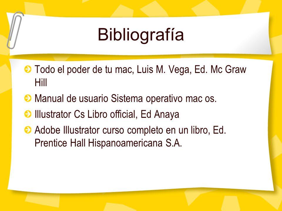 Bibliografía Todo el poder de tu mac, Luis M. Vega, Ed. Mc Graw Hill Manual de usuario Sistema operativo mac os. Illustrator Cs Libro official, Ed Ana
