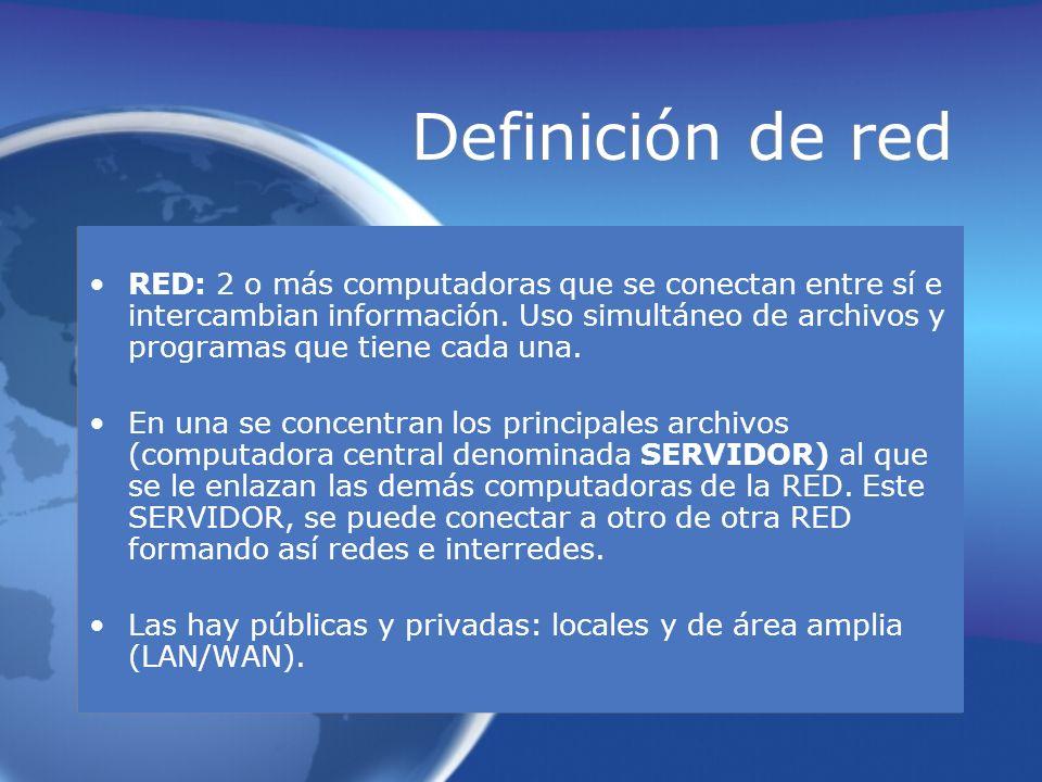 Definición de red RED: 2 o más computadoras que se conectan entre sí e intercambian información. Uso simultáneo de archivos y programas que tiene cada
