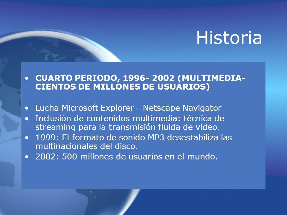 Historia CUARTO PERIODO, 1996- 2002 (MULTIMEDIA- CIENTOS DE MILLONES DE USUARIOS) Lucha Microsoft Explorer - Netscape Navigator Inclusión de contenido