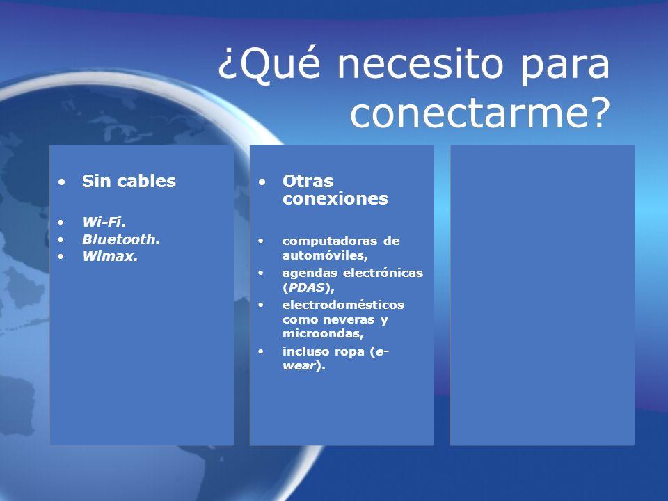 ¿Qué necesito para conectarme? Sin cables Wi-Fi. Bluetooth. Wimax. Sin cables Wi-Fi. Bluetooth. Wimax. Otras conexiones computadoras de automóviles, a