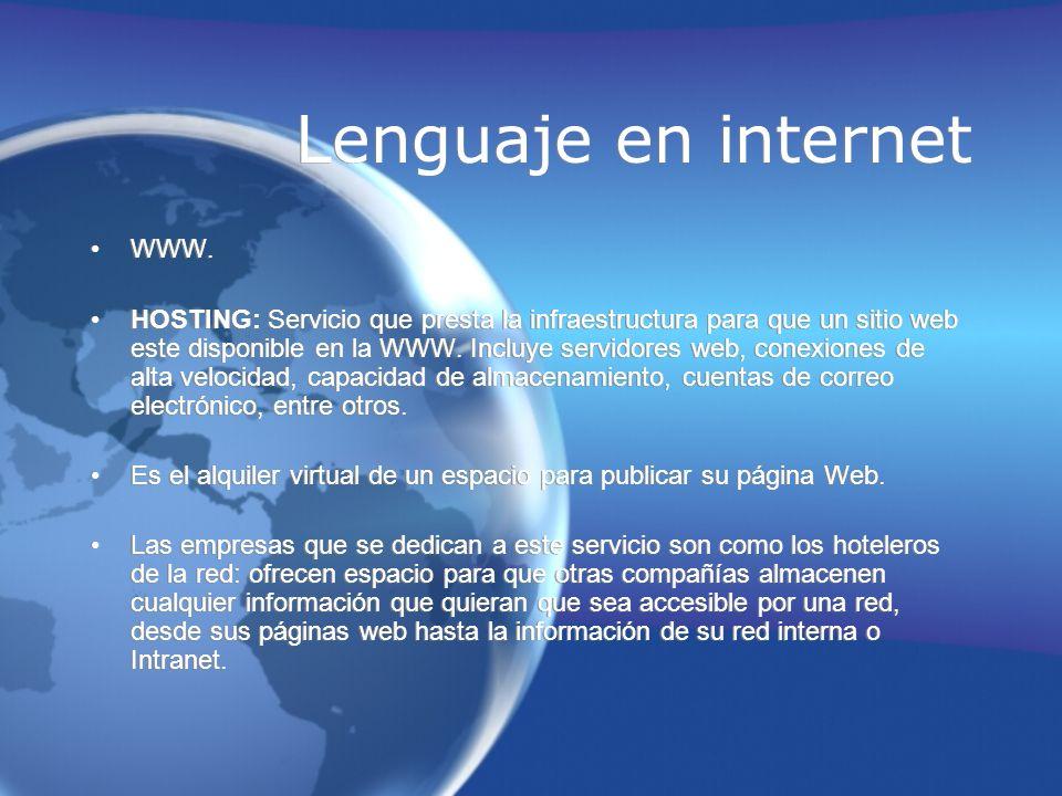 Lenguaje en internet WWW. HOSTING: Servicio que presta la infraestructura para que un sitio web este disponible en la WWW. Incluye servidores web, con