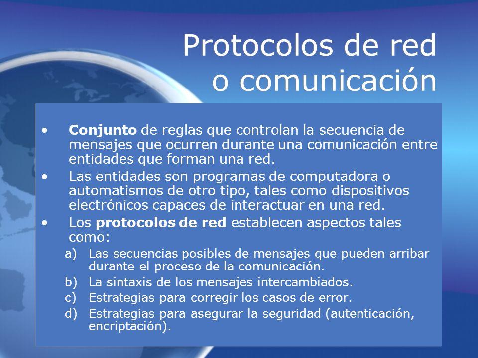 Protocolos de red o comunicación Conjunto de reglas que controlan la secuencia de mensajes que ocurren durante una comunicación entre entidades que fo