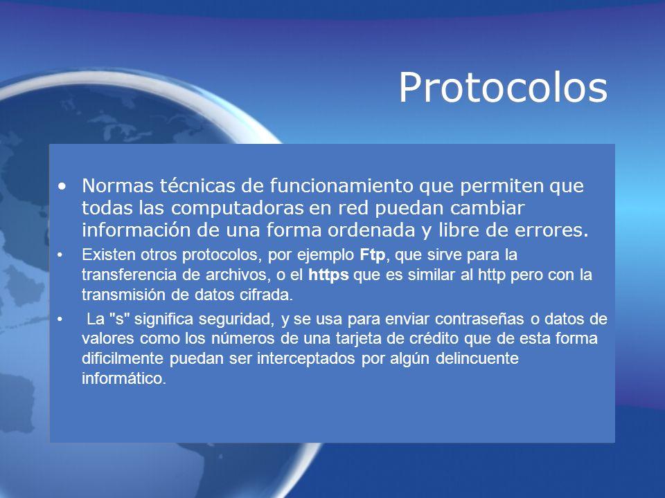 Protocolos Normas técnicas de funcionamiento que permiten que todas las computadoras en red puedan cambiar información de una forma ordenada y libre d