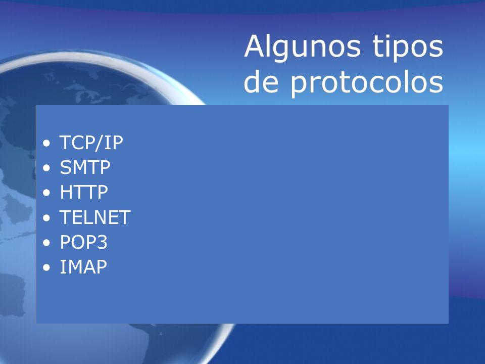 Algunos tipos de protocolos TCP/IP SMTP HTTP TELNET POP3 IMAP TCP/IP SMTP HTTP TELNET POP3 IMAP