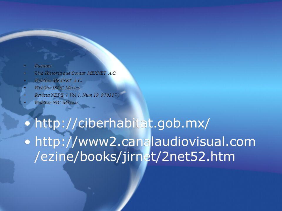 Fuentes: Una Historia que Contar MEXNET A.C. WebSite MEXNET A.C. WebSite ISOC México. Revista NET@ ( Vol 1, Num 19, 970317 ) WebSite NIC-México. http: