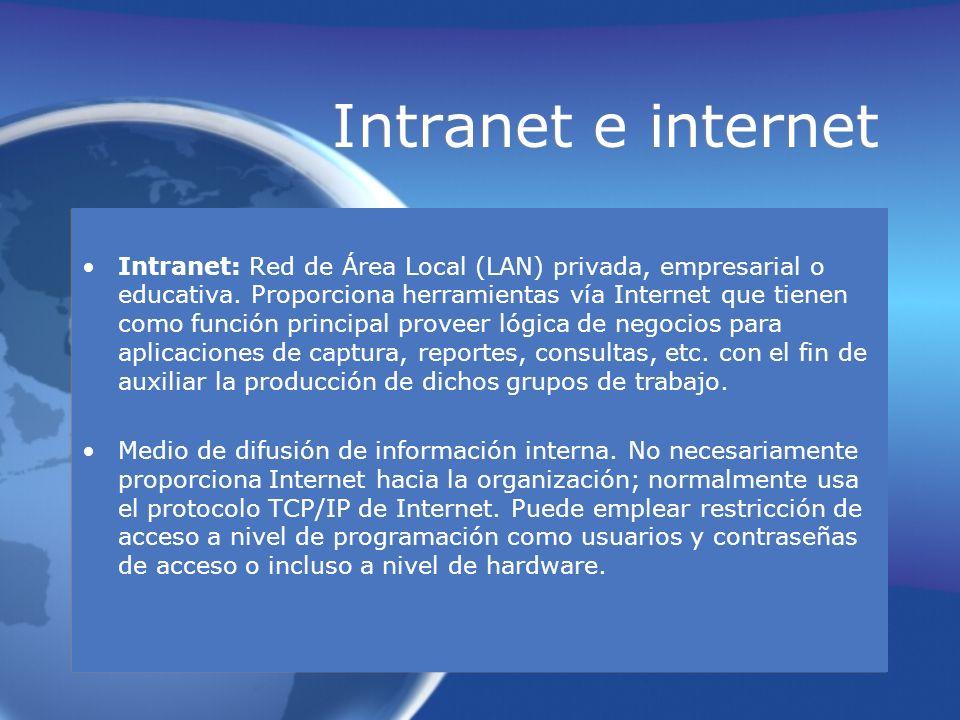 Intranet e internet Intranet: Red de Área Local (LAN) privada, empresarial o educativa. Proporciona herramientas vía Internet que tienen como función