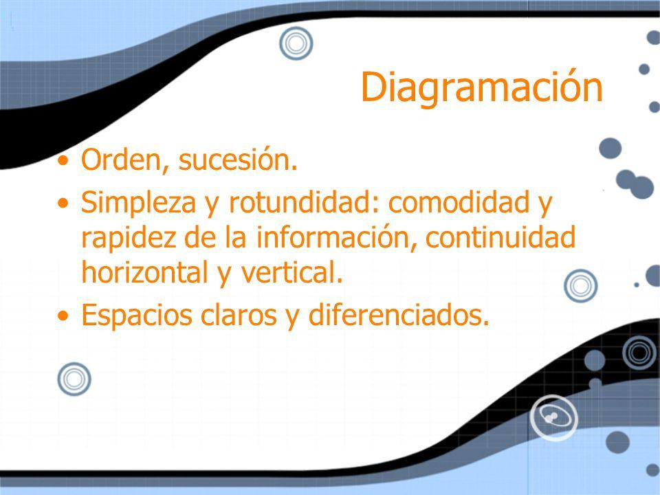 Diagramación Orden, sucesión. Simpleza y rotundidad: comodidad y rapidez de la información, continuidad horizontal y vertical. Espacios claros y difer