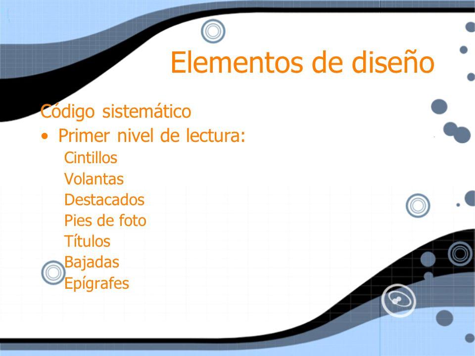Elementos de diseño Código sistemático Primer nivel de lectura: Cintillos Volantas Destacados Pies de foto Títulos Bajadas Epígrafes Código sistemátic
