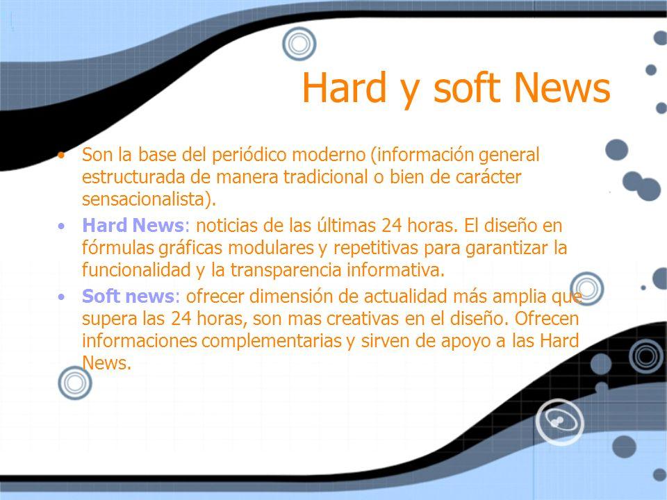 Hard y soft News Son la base del periódico moderno (información general estructurada de manera tradicional o bien de carácter sensacionalista). Hard N