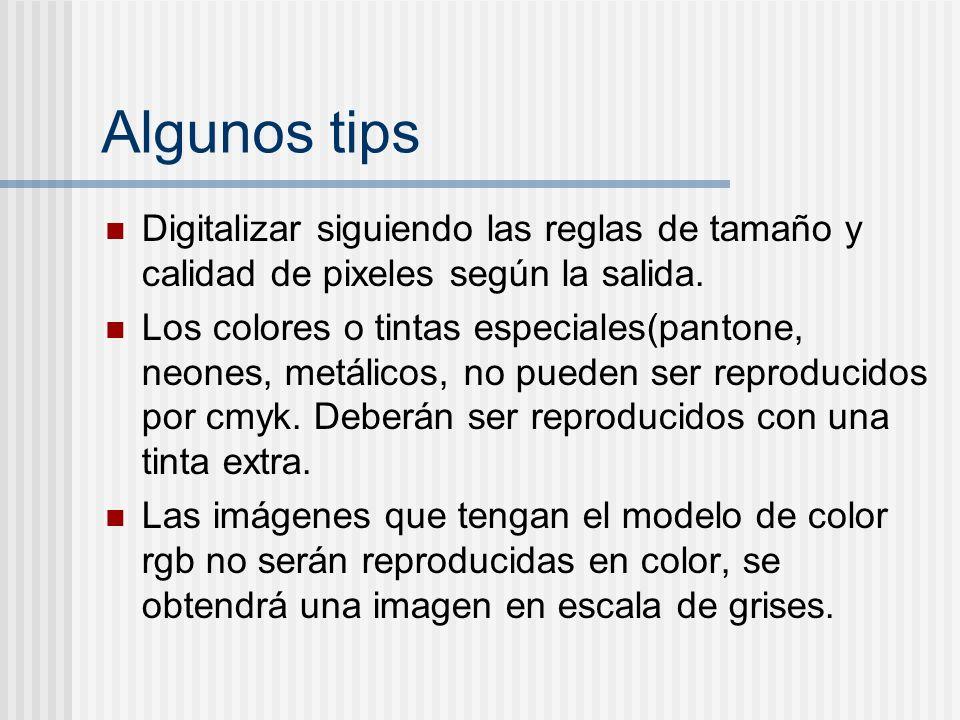Algunos tips Digitalizar siguiendo las reglas de tamaño y calidad de pixeles según la salida. Los colores o tintas especiales(pantone, neones, metálic