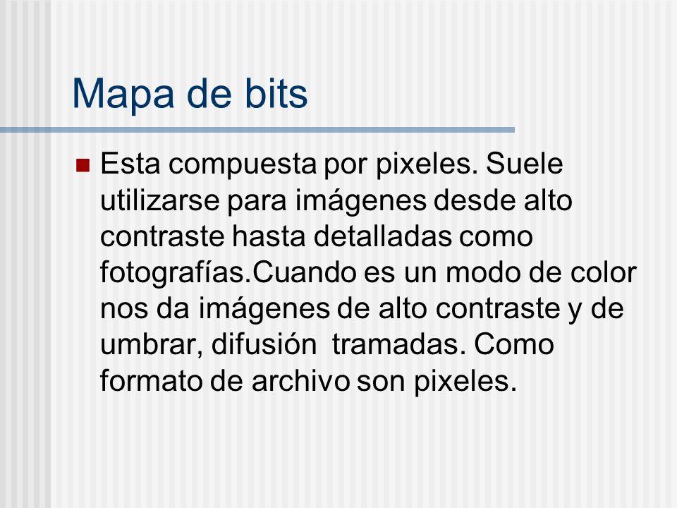 Mapa de bits Esta compuesta por pixeles. Suele utilizarse para imágenes desde alto contraste hasta detalladas como fotografías.Cuando es un modo de co