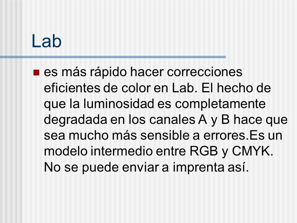 Lab es más rápido hacer correcciones eficientes de color en Lab. El hecho de que la luminosidad es completamente degradada en los canales A y B hace q
