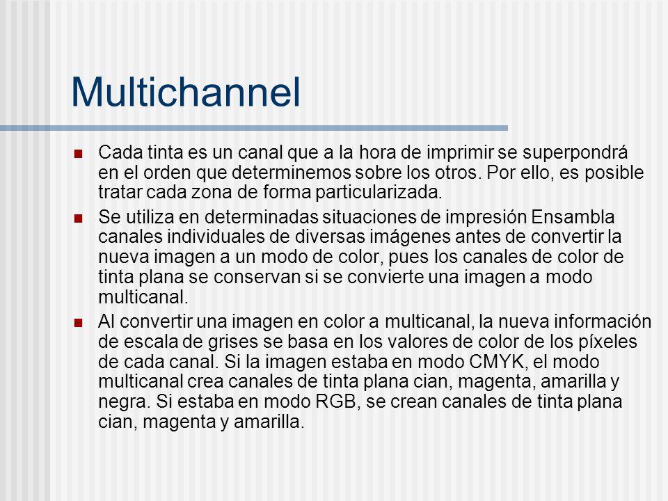 Multichannel Cada tinta es un canal que a la hora de imprimir se superpondrá en el orden que determinemos sobre los otros. Por ello, es posible tratar