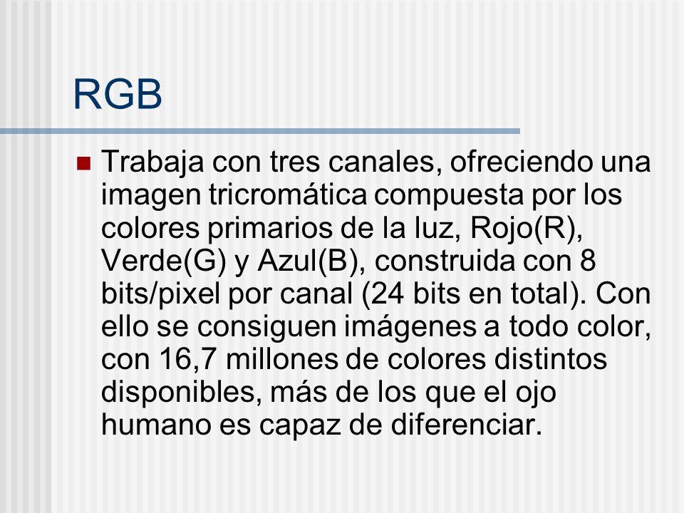 RGB Trabaja con tres canales, ofreciendo una imagen tricromática compuesta por los colores primarios de la luz, Rojo(R), Verde(G) y Azul(B), construida con 8 bits/pixel por canal (24 bits en total).