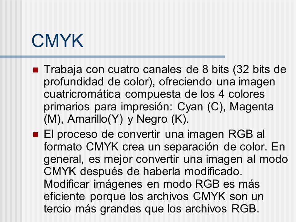 CMYK Trabaja con cuatro canales de 8 bits (32 bits de profundidad de color), ofreciendo una imagen cuatricromática compuesta de los 4 colores primarios para impresión: Cyan (C), Magenta (M), Amarillo(Y) y Negro (K).