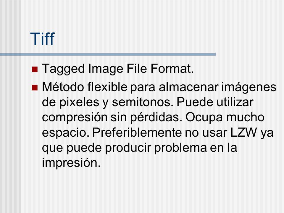 Tiff Tagged Image File Format. Método flexible para almacenar imágenes de pixeles y semitonos. Puede utilizar compresión sin pérdidas. Ocupa mucho esp