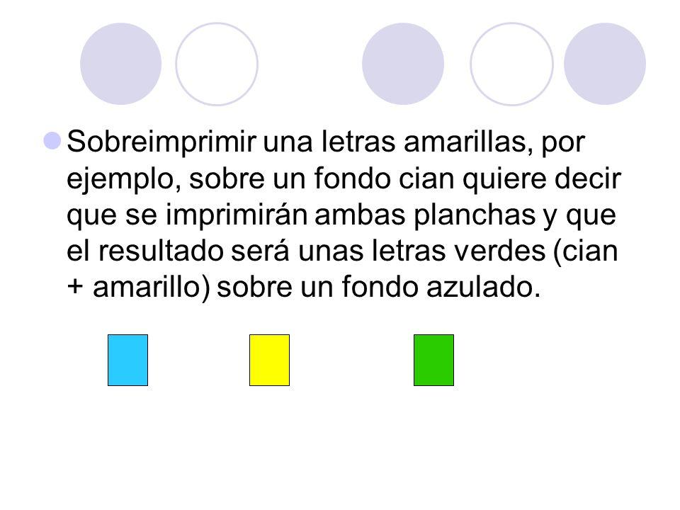 Sobreimprimir una letras amarillas, por ejemplo, sobre un fondo cian quiere decir que se imprimirán ambas planchas y que el resultado será unas letras