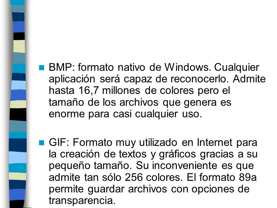 BMP: formato nativo de Windows. Cualquier aplicación será capaz de reconocerlo. Admite hasta 16,7 millones de colores pero el tamaño de los archivos q