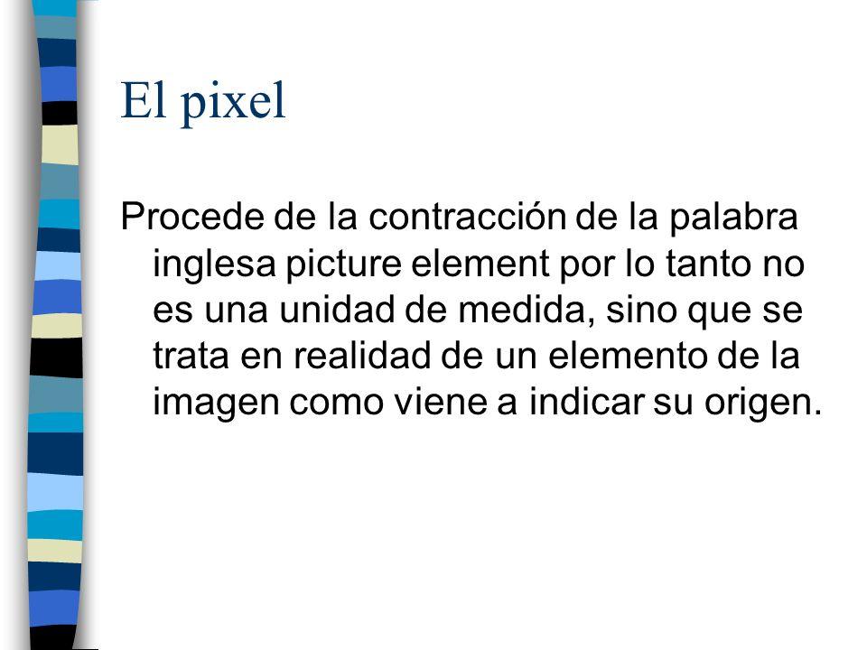 El pixel Procede de la contracción de la palabra inglesa picture element por lo tanto no es una unidad de medida, sino que se trata en realidad de un
