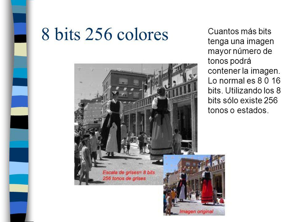 8 bits 256 colores Cuantos más bits tenga una imagen mayor número de tonos podrá contener la imagen. Lo normal es 8 0 16 bits. Utilizando los 8 bits s