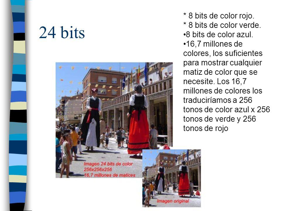 24 bits * 8 bits de color rojo. * 8 bits de color verde. 8 bits de color azul. 16,7 millones de colores, los suficientes para mostrar cualquier matiz