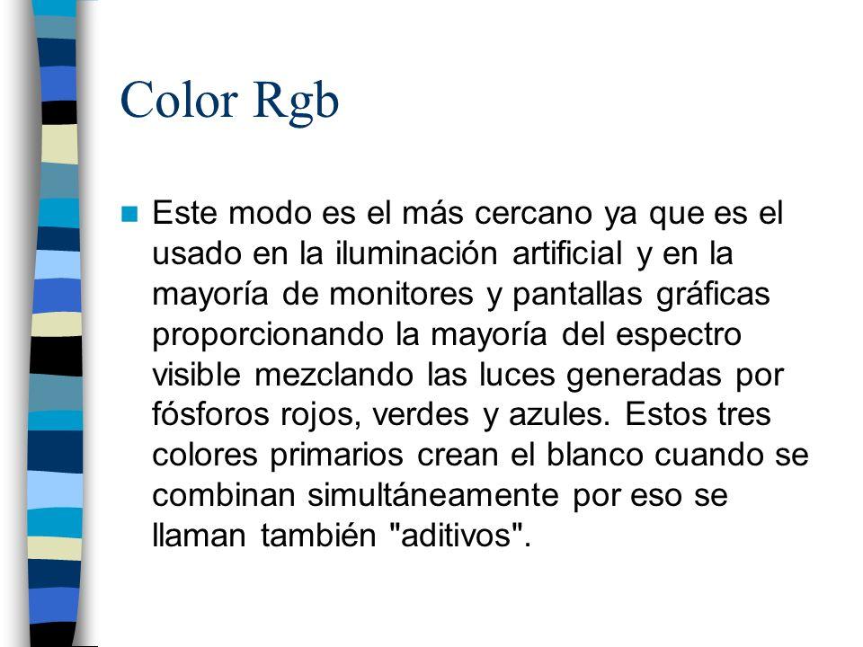 Color Rgb Este modo es el más cercano ya que es el usado en la iluminación artificial y en la mayoría de monitores y pantallas gráficas proporcionando