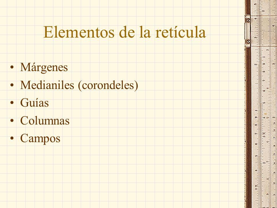 Elementos de la retícula Márgenes Medianiles (corondeles) Guías Columnas Campos