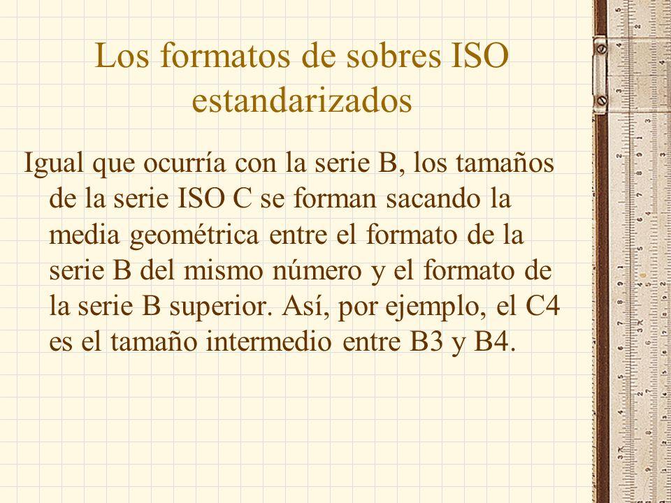 Los formatos de sobres ISO estandarizados Igual que ocurría con la serie B, los tamaños de la serie ISO C se forman sacando la media geométrica entre