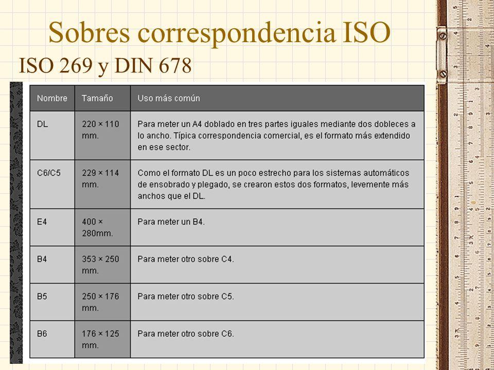 Sobres correspondencia ISO ISO 269 y DIN 678