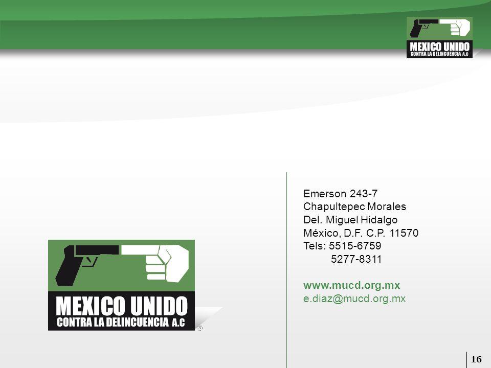 16 Emerson 243-7 Chapultepec Morales Del. Miguel Hidalgo México, D.F. C.P. 11570 Tels: 5515-6759 5277-8311 www.mucd.org.mx e.diaz@mucd.org.mx