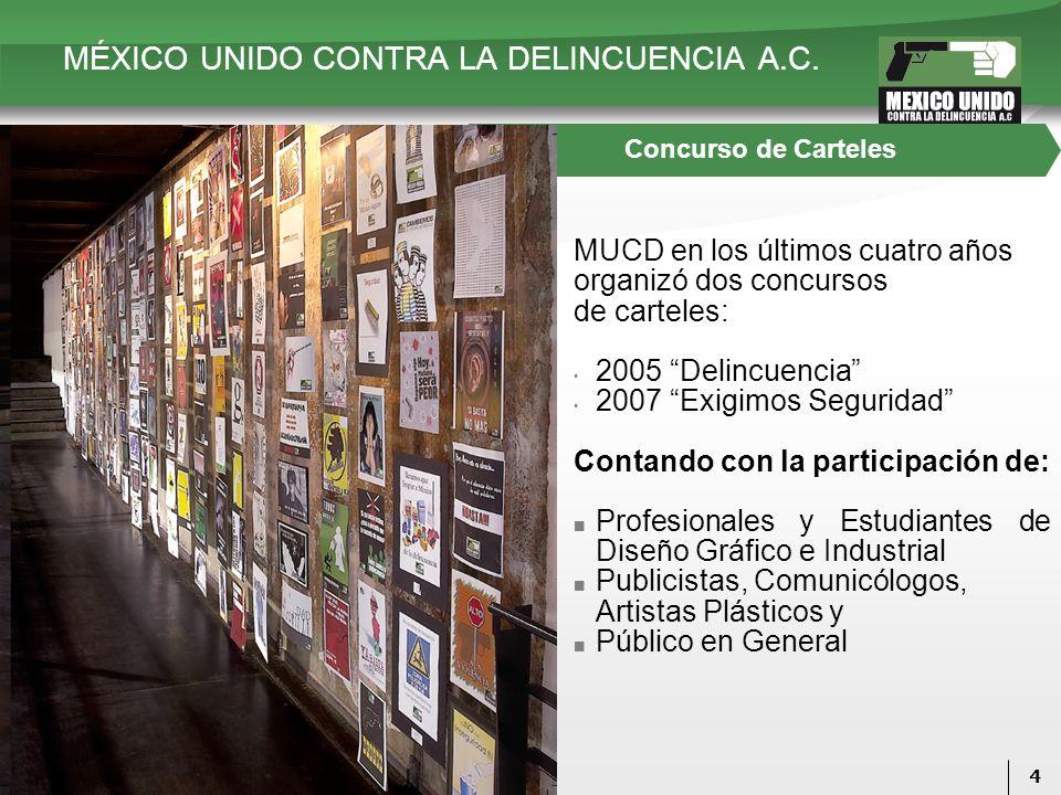 4 Concurso de Carteles MUCD en los últimos cuatro años organizó dos concursos de carteles: 2005 Delincuencia 2007 Exigimos Seguridad Contando con la p