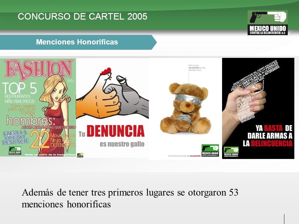 CONCURSO DE CARTEL 2005 Menciones Honorificas Además de tener tres primeros lugares se otorgaron 53 menciones honorificas