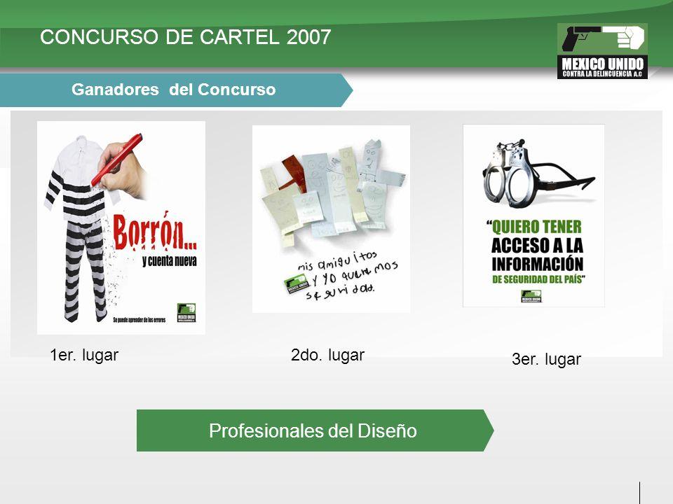 CONCURSO DE CARTEL 2007 1er. lugar2do. lugar 3er. lugar Ganadores del Concurso Profesionales del Diseño