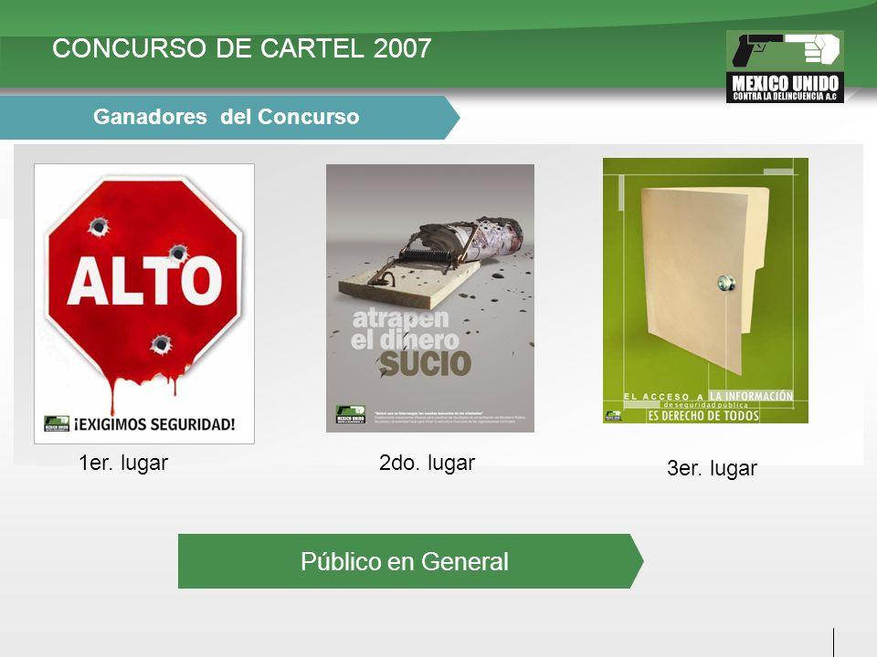 CONCURSO DE CARTEL 2007 1er. lugar2do. lugar 3er. lugar Ganadores del Concurso Público en General