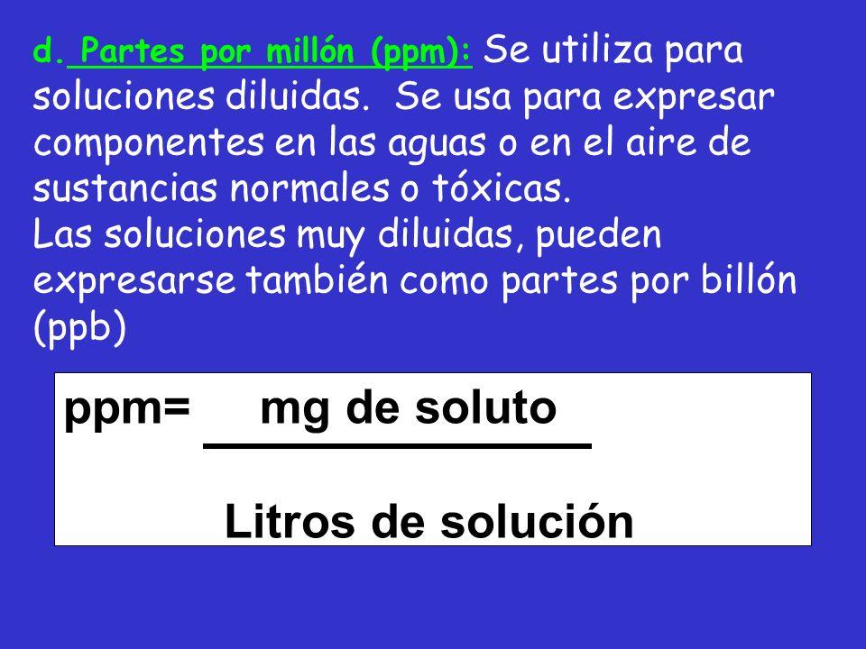 d. Partes por millón (ppm): Se utiliza para soluciones diluidas. Se usa para expresar componentes en las aguas o en el aire de sustancias normales o t