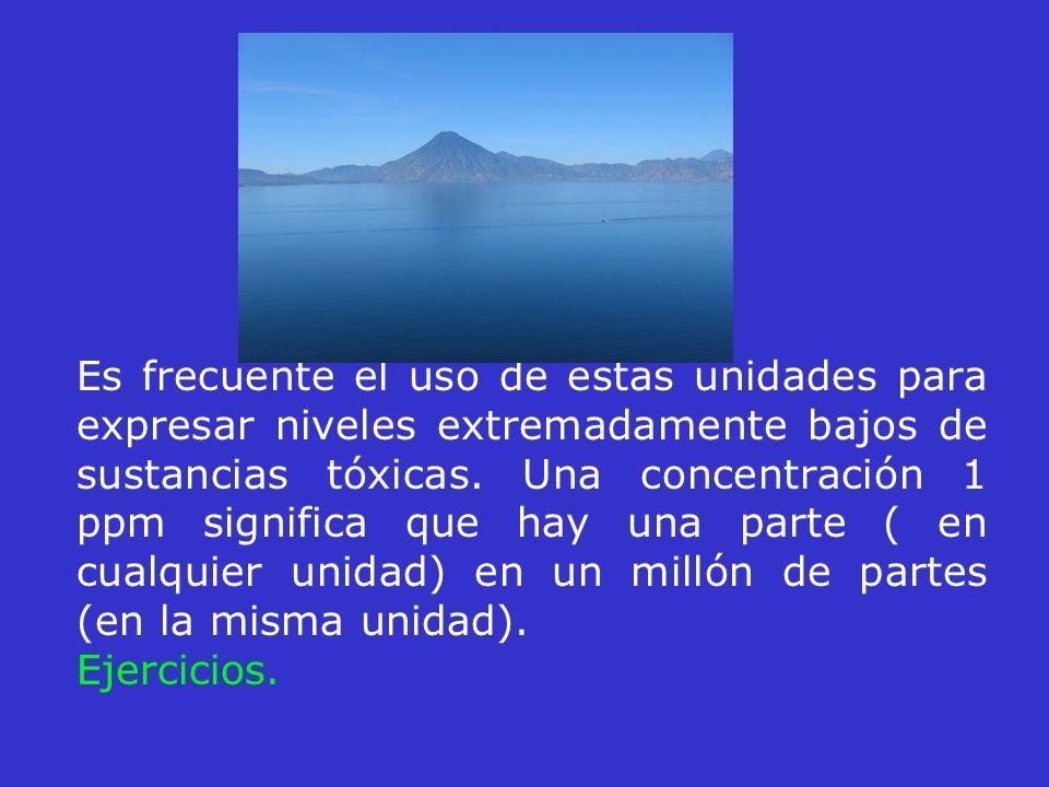 Es frecuente el uso de estas unidades para expresar niveles extremadamente bajos de sustancias tóxicas. Una concentración 1 ppm significa que hay una