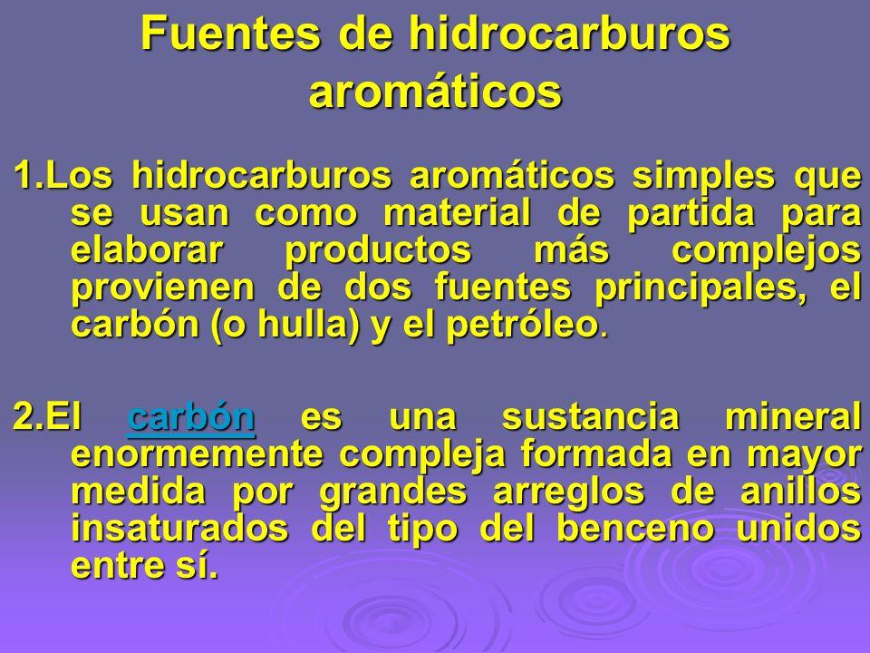 Fuentes de hidrocarburos aromáticos 1.Los hidrocarburos aromáticos simples que se usan como material de partida para elaborar productos más complejos