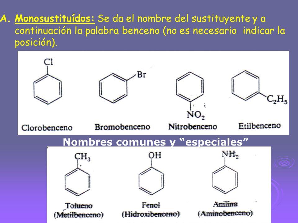 A.Monosustituídos: Se da el nombre del sustituyente y a continuación la palabra benceno (no es necesario indicar la posición). Nombres comunes y espec