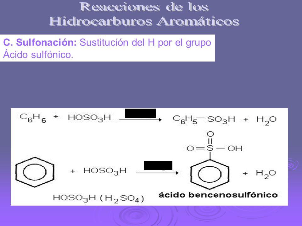 C. Sulfonación: Sustitución del H por el grupo Ácido sulfónico.