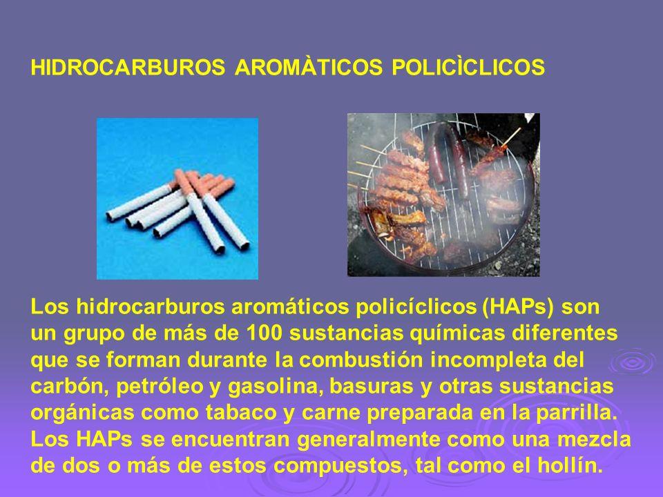 HIDROCARBUROS AROMÀTICOS POLICÌCLICOS Los hidrocarburos aromáticos policíclicos (HAPs) son un grupo de más de 100 sustancias químicas diferentes que s