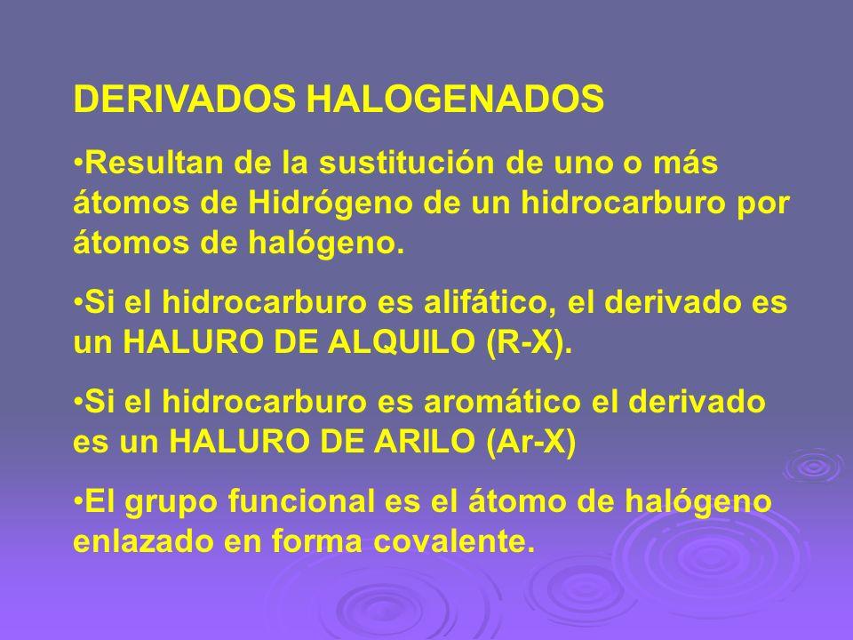 DERIVADOS HALOGENADOS Resultan de la sustitución de uno o más átomos de Hidrógeno de un hidrocarburo por átomos de halógeno. Si el hidrocarburo es ali