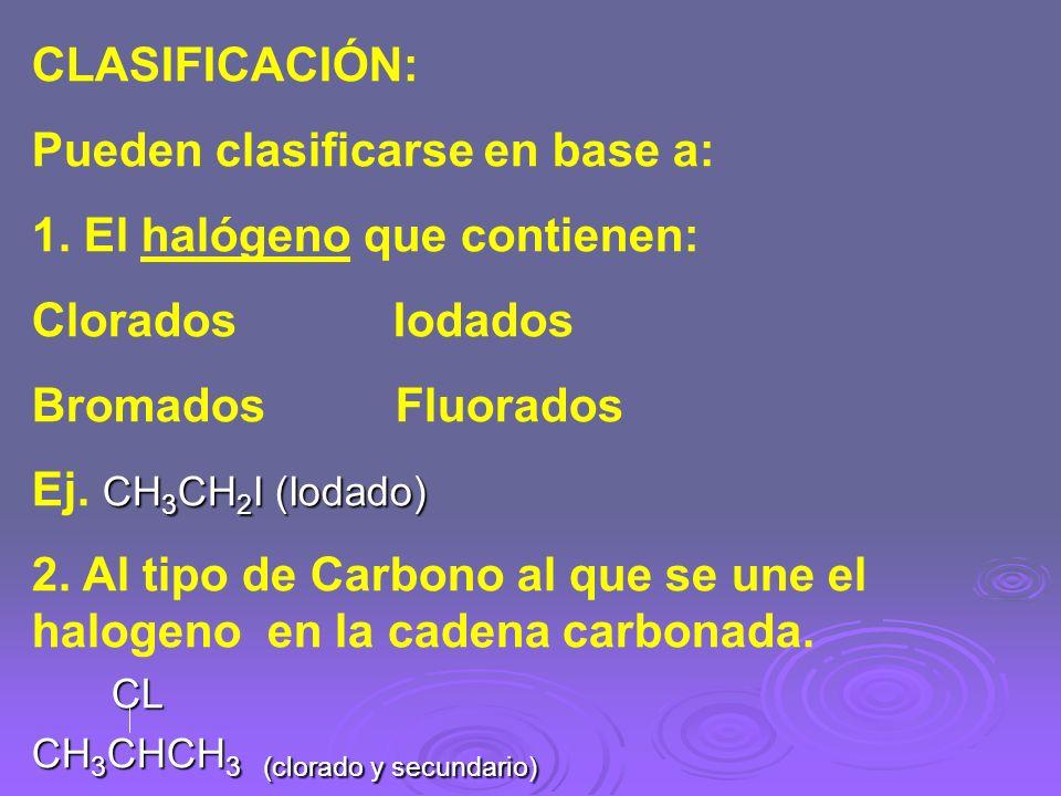 CLASIFICACIÓN: Pueden clasificarse en base a: 1. El halógeno que contienen: Clorados Iodados Bromados Fluorados CH 3 CH 2 I (Iodado) Ej. CH 3 CH 2 I (