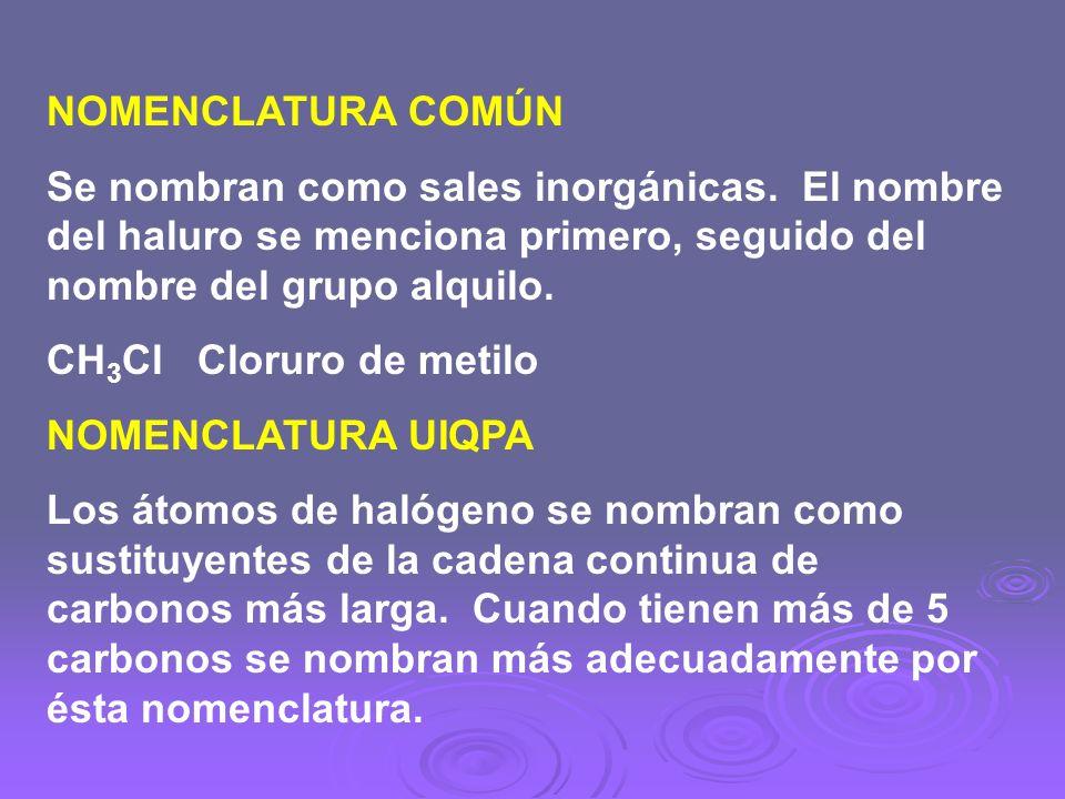 NOMENCLATURA COMÚN Se nombran como sales inorgánicas. El nombre del haluro se menciona primero, seguido del nombre del grupo alquilo. CH 3 Cl Cloruro