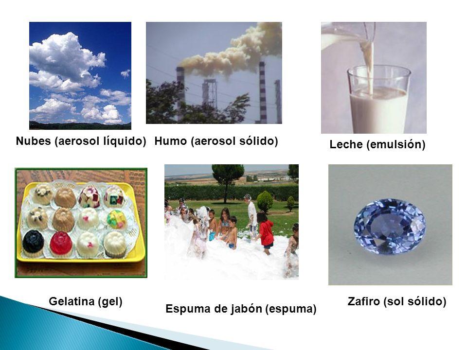 Zafiro (sol sólido) Espuma de jabón (espuma) Gelatina (gel) Leche (emulsión) Humo (aerosol sólido)Nubes (aerosol líquido)