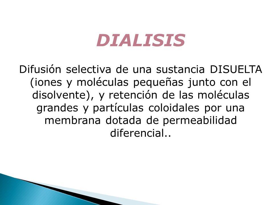 DIALISIS Difusión selectiva de una sustancia DISUELTA (iones y moléculas pequeñas junto con el disolvente), y retención de las moléculas grandes y par