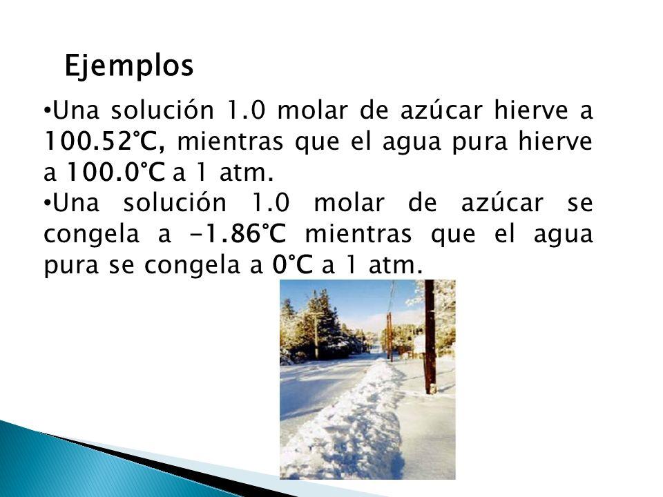 Ejemplos Una solución 1.0 molar de azúcar hierve a 100.52°C, mientras que el agua pura hierve a 100.0°C a 1 atm. Una solución 1.0 molar de azúcar se c