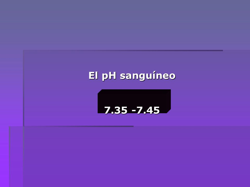 pH sanguíneo pH sanguíneo 7.35 -7.45 AcidosispH debajo de 7.35 AlcalosispH arriba de 7.45