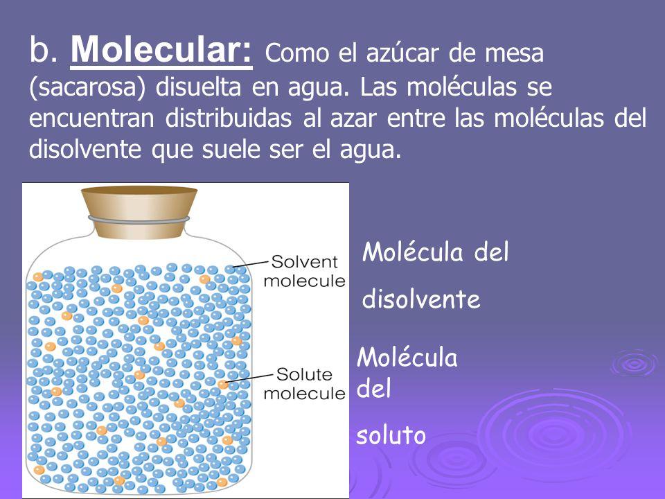 b. Molecular: Como el azúcar de mesa (sacarosa) disuelta en agua. Las moléculas se encuentran distribuidas al azar entre las moléculas del disolvente